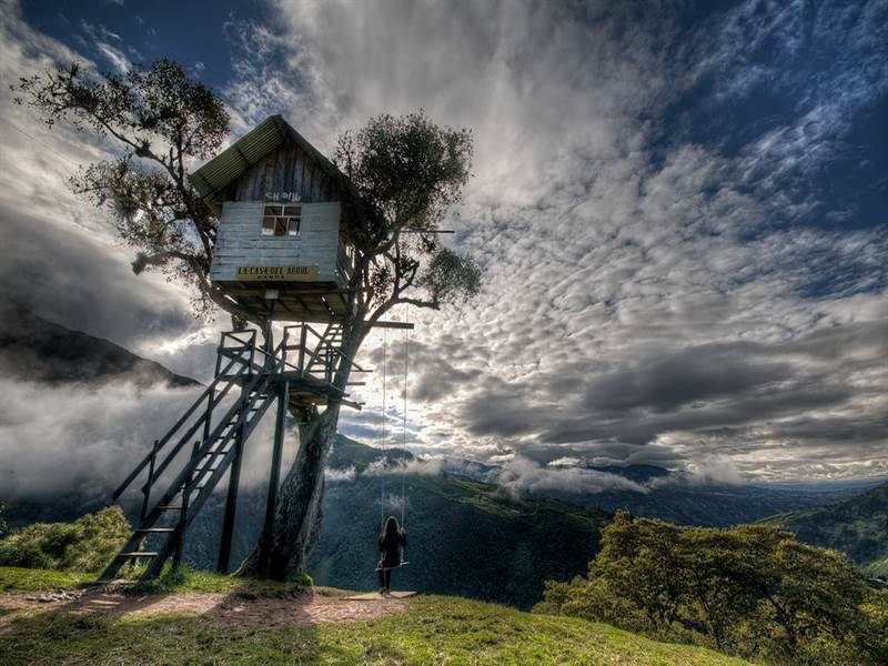 "The swing at the ""End of the World:"" Baños, Ecuador"