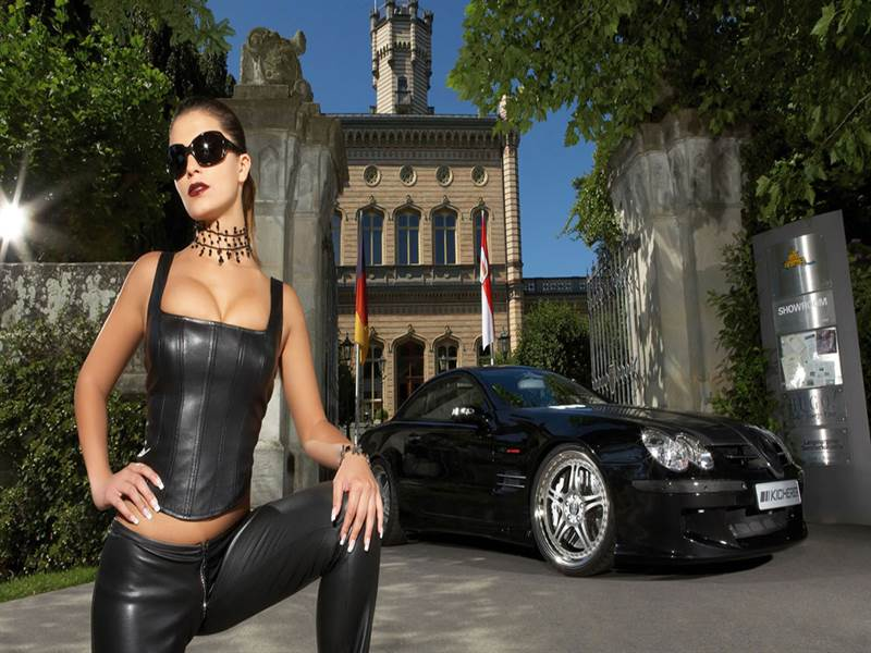 Beautiful car with hot model wallpaper