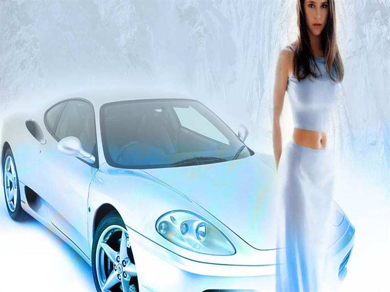 Beautiful porche car with hot girl photo