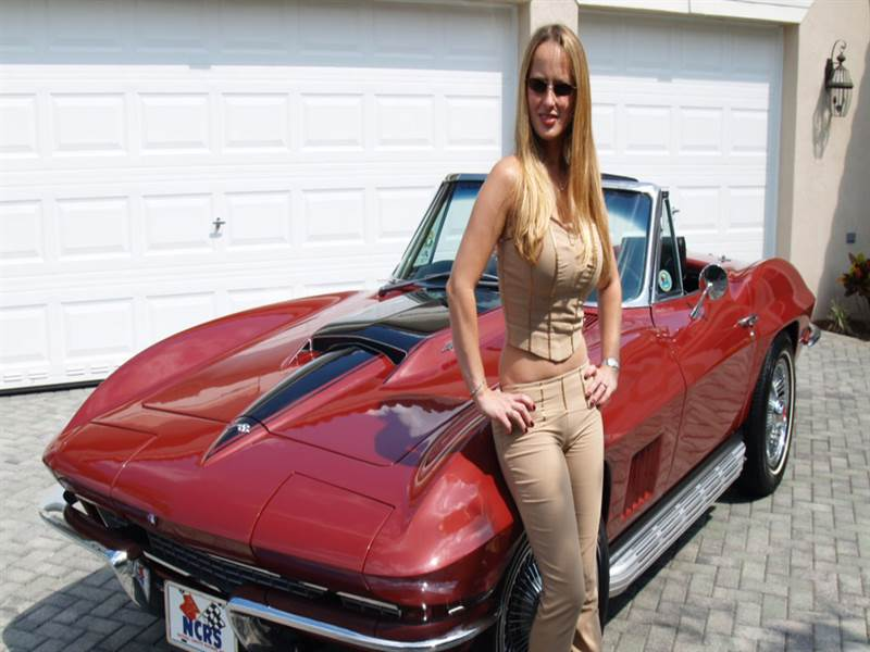 Hot model with beautiful sport car photo